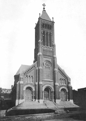 black and white historical photograph of church