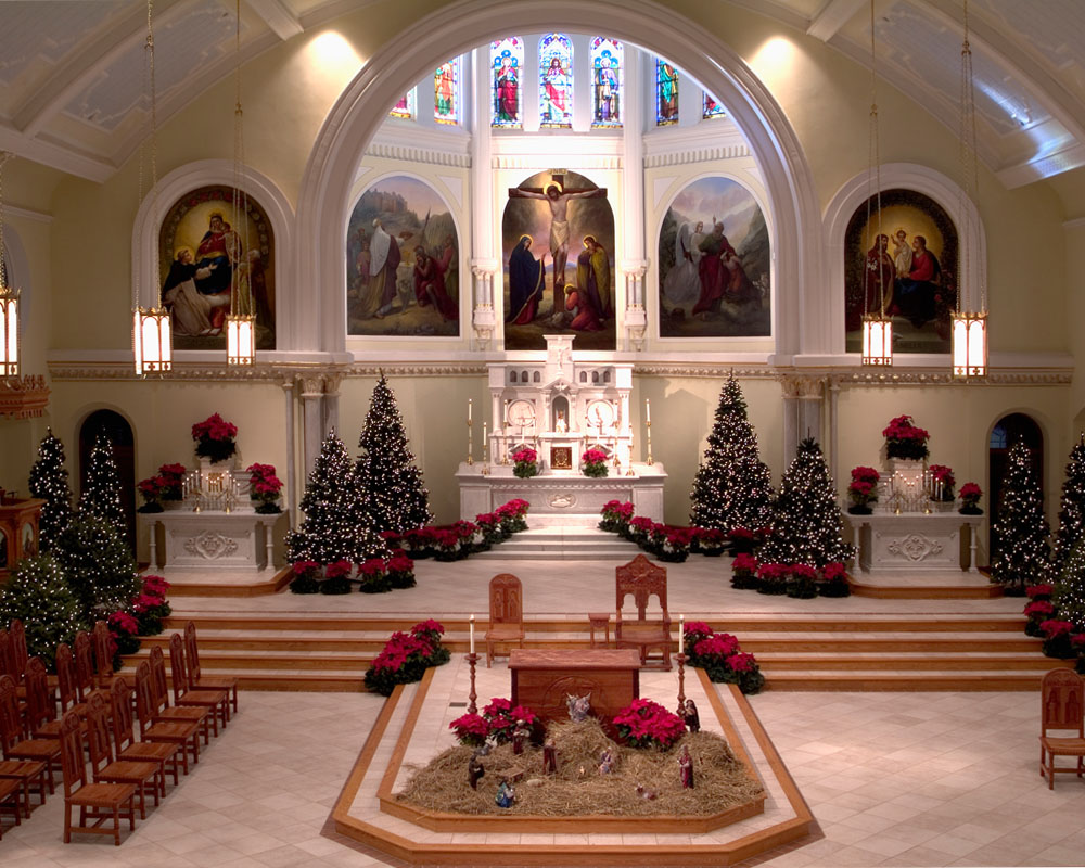 sanctuary and altar decorated for Christmas