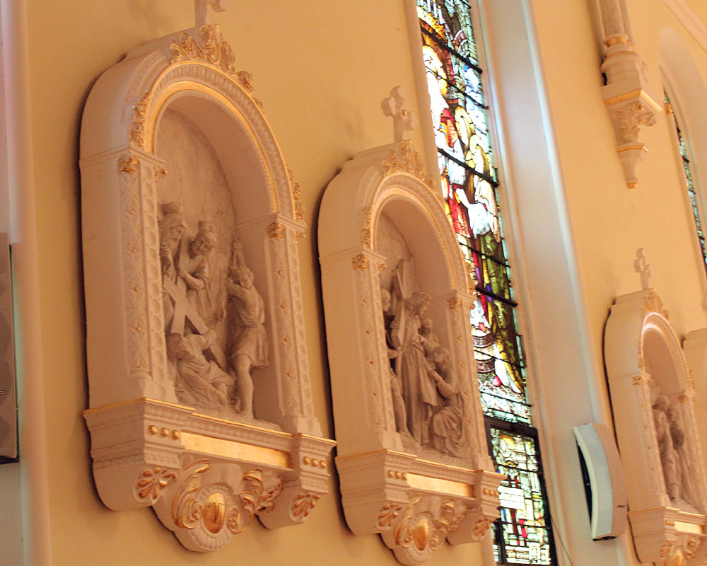 relief sculptures on the interior church walls