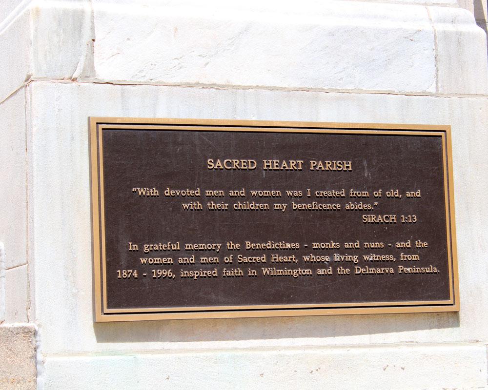 outdoor Sacred Heart Parish plaque