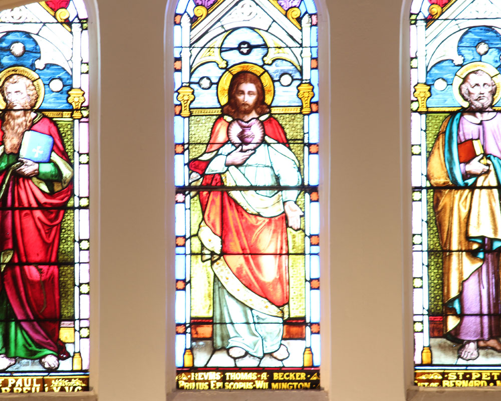 3 large stained glass windows