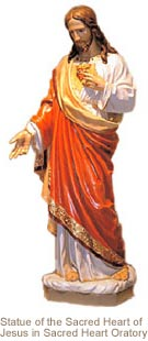 statue of the Sacred Heart of Jesus featured in the Sacred Heart Oratory